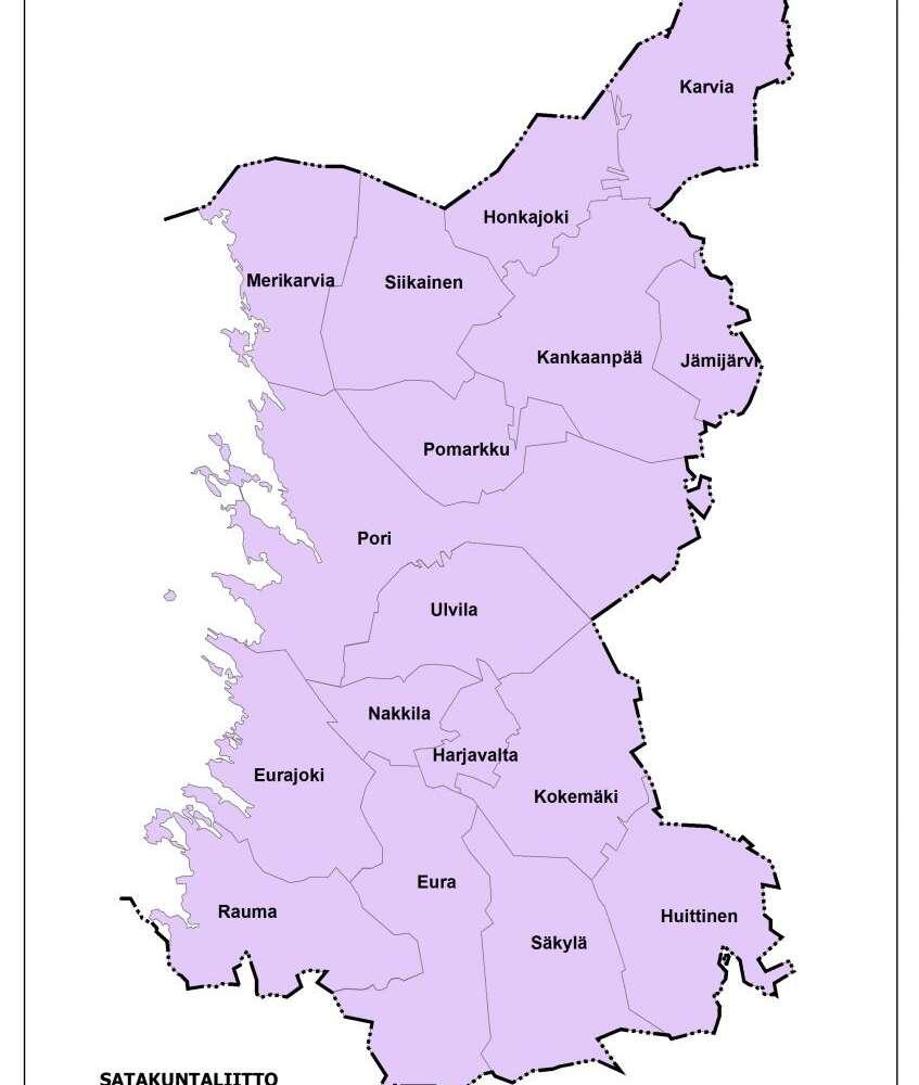 Satakunnan kartta, johon on merkitty kunnat